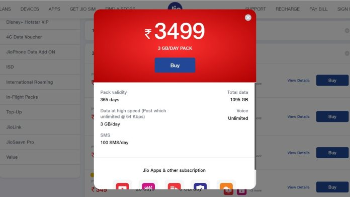 Users will get a total of 1,095 GB of data with the Rs 3,499 plan. Image: Jio