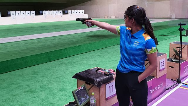 Pistol shooter Manu Bhaker is among the medal contenders from India and she is wasting no time to prepare for the big day. Here she is seen getting the feel of the shooting range in Tokyo. Image courtesy: Twitter/@OfficialNRAI
