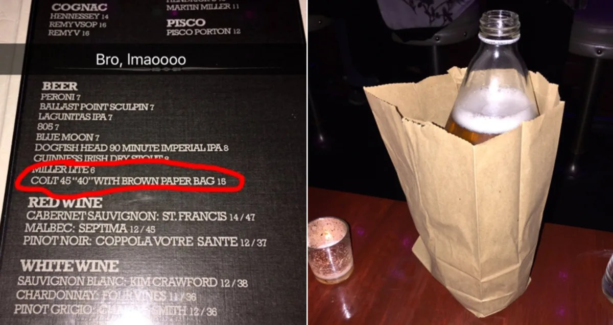 This LA Bar Is Getting Dragged for Offering a 15 Colt 45 in a Brown Paper Bag  First We Feast