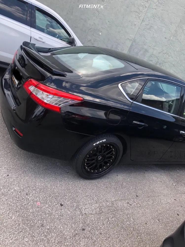 Nissan Sentra Black Rims : nissan, sentra, black, Nissan, Sentra, 18x8.5, Tires, 235x40, Lowering, Springs, 706834, Fitment, Industries