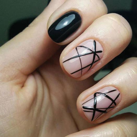 negative space nail art - cute