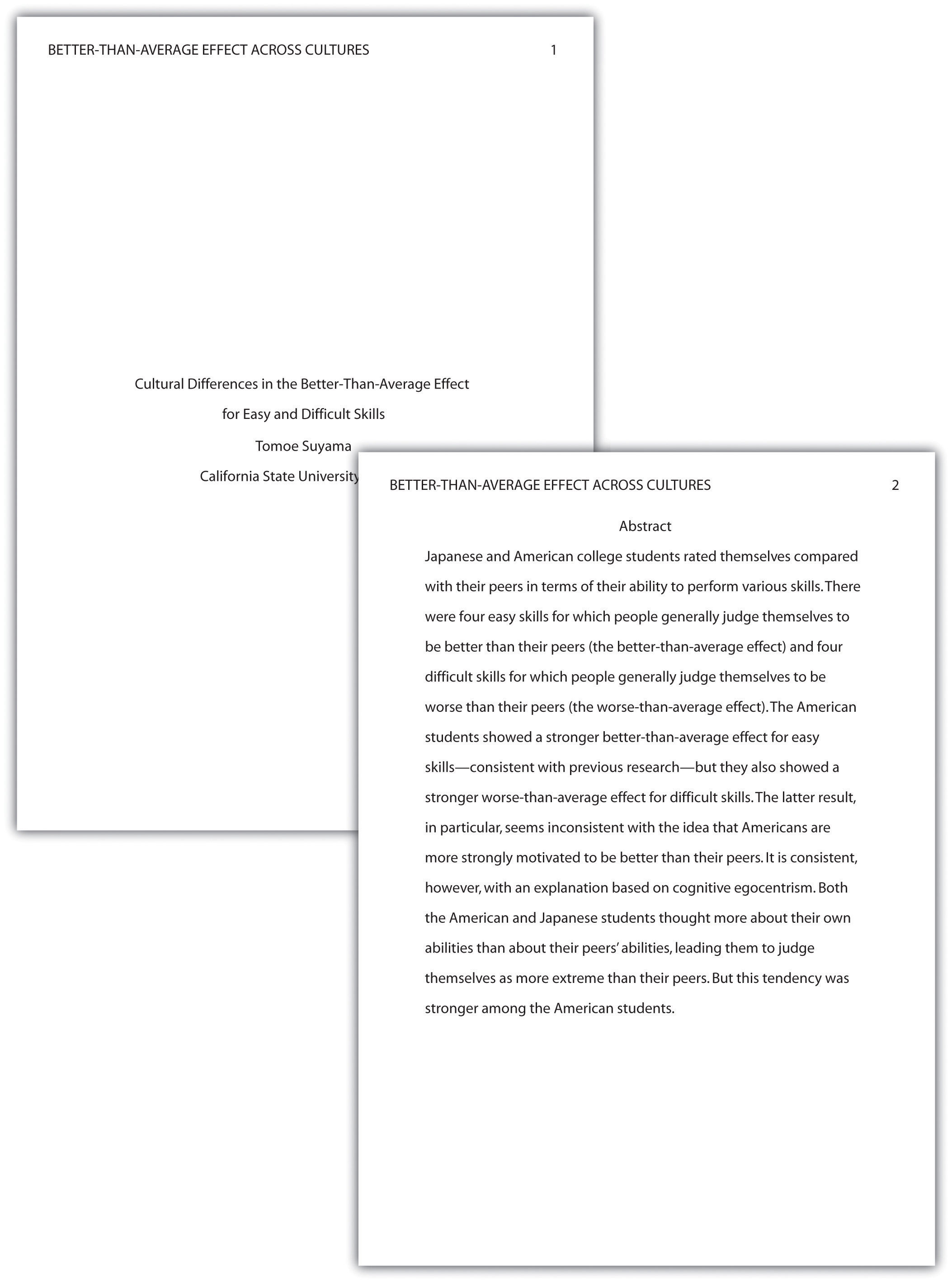 Sample Of Apa Essay Apa Style Sample Papers Th And Th Edition Apa