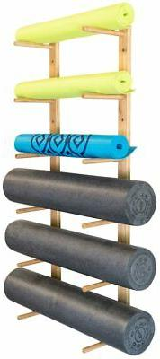 bamboo construction mounting hardware included storage shelf ultra fitness gear premium foam roller and yoga mat rack mimbarschool com ng