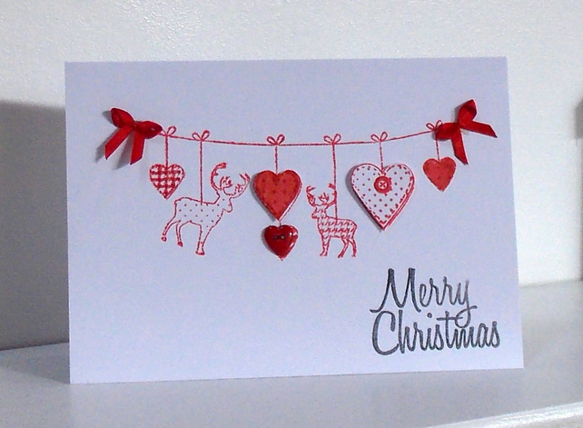 Pack Of 5 Handcrafted Christmas Cards In Scandi Folksy