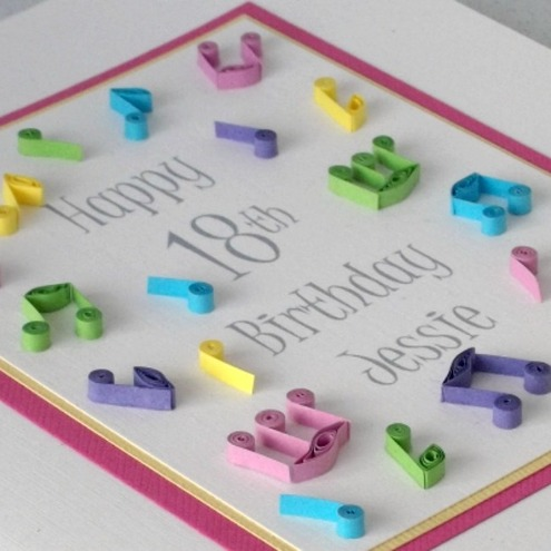 Quilled 18th Birthday Card Musical Notes Pers Folksy