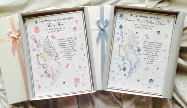 Baby's Christening Baptism Or Naming Card Luxu Folksy