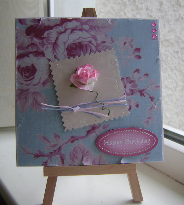 'Happy Birthday' Shabby Chic Style With Roses Folksy