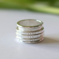 Sterling Silver Chunky Personalised Spinning Ring - Folksy