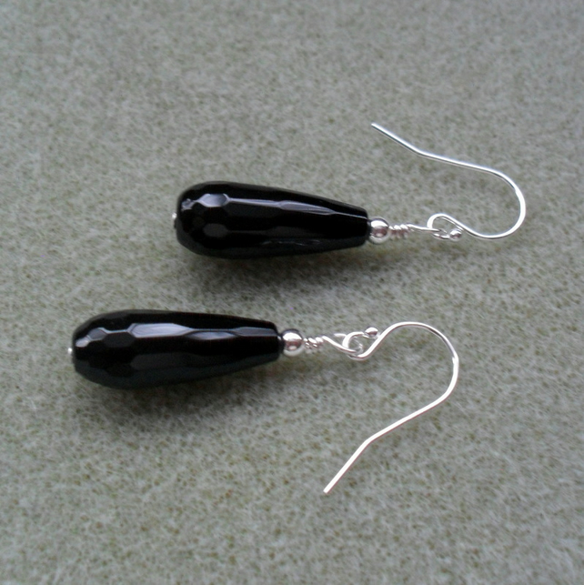 Black Onyx Faceted Drop Earrings Sterling Silve...
