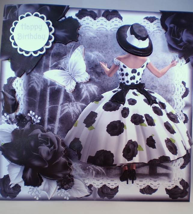 Decoupage 3D Large Birthday Card Elegant Lady B Folksy