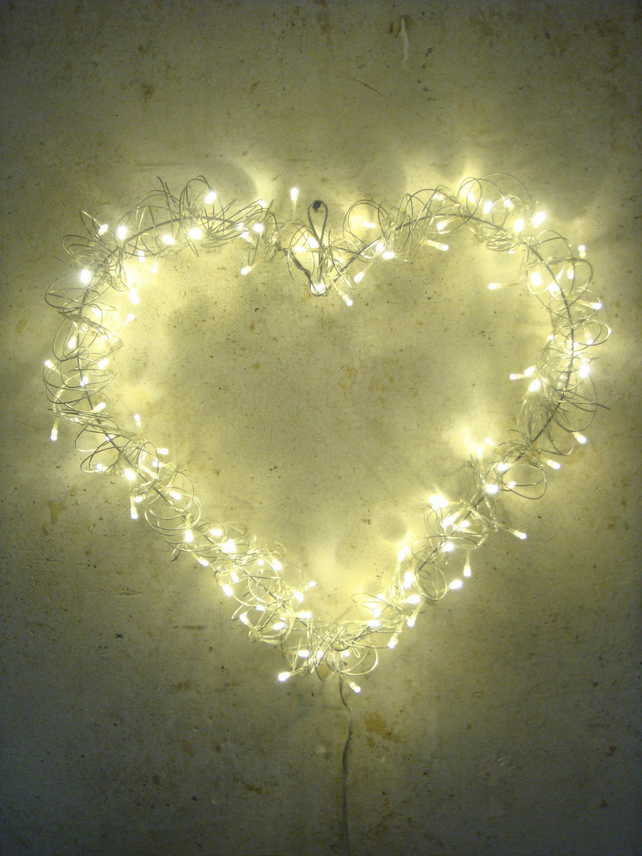 Large Christmas Love Heart Soft Glow LED Fairy   Folksy