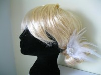 White Sparkly Feather Fascinator (hair clip, br...