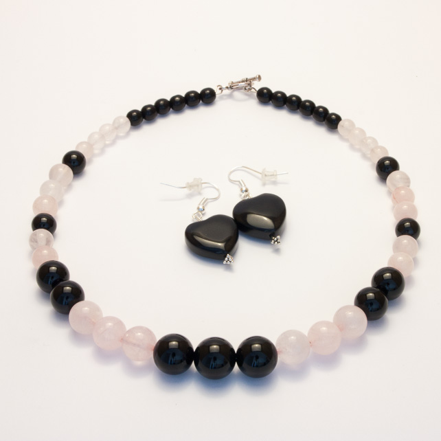 Rose Quartz And Black Onyx Necklace And Earring Folksy