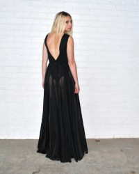 Black sheer maxi dress with fitted body - Folksy
