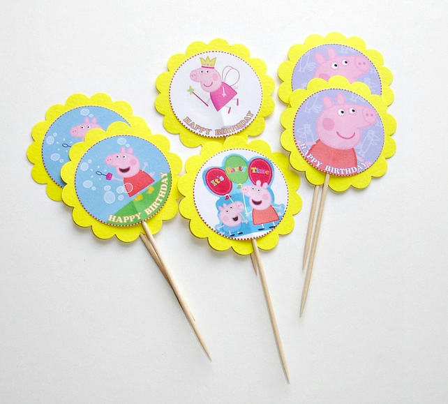 Set Of 6 Peppa Pig Cupcake Toppers Happy Birthday Toppers