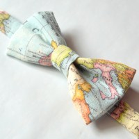 World map bow tie, wedding bow tie, travel bow