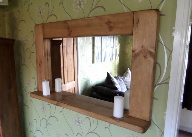 Hand Made Chunky Bespoke Rustic Solid Wood Mirr Folksy