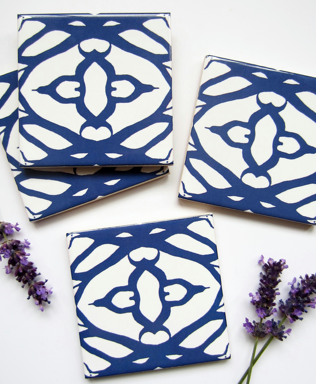 4 x navy blue and white geometric design ceramic tile coasters with cork backing