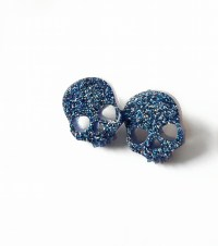 Skull Glitter Resin Stud Earrings