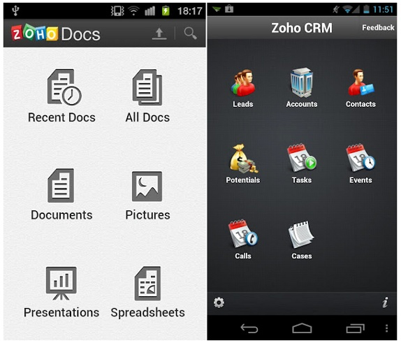 Zoho launches Docs and CRM apps for Android