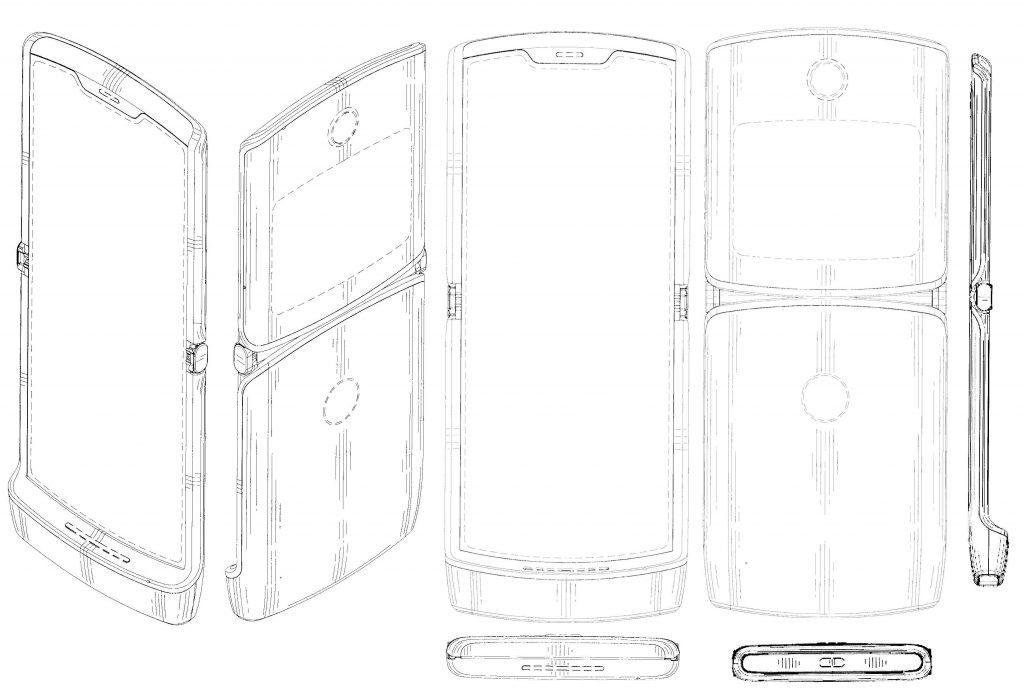 Motorola RAZR smartphone with foldable display patent surfaces