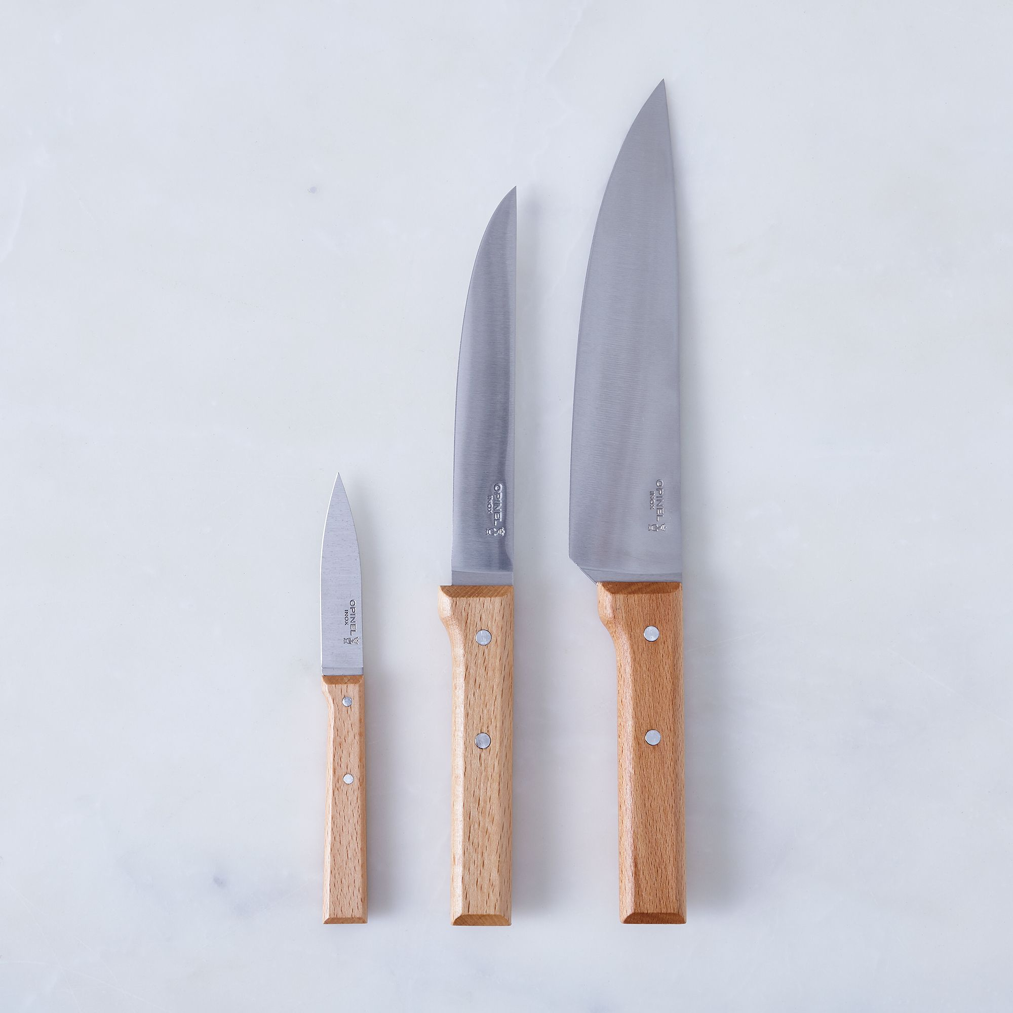 knives kitchen waterworks faucets opinel set of 3 on food52