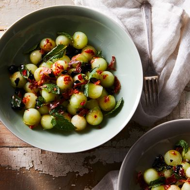 Honeydew With Prosciutto, Olives & Mint