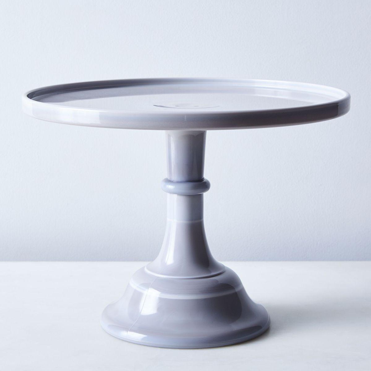 Grey Swirl Glass Cake Stand - 12