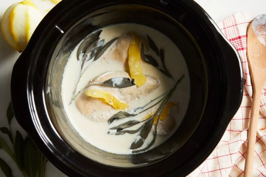slow cooker chicken breasts with lemon, sage, and milk