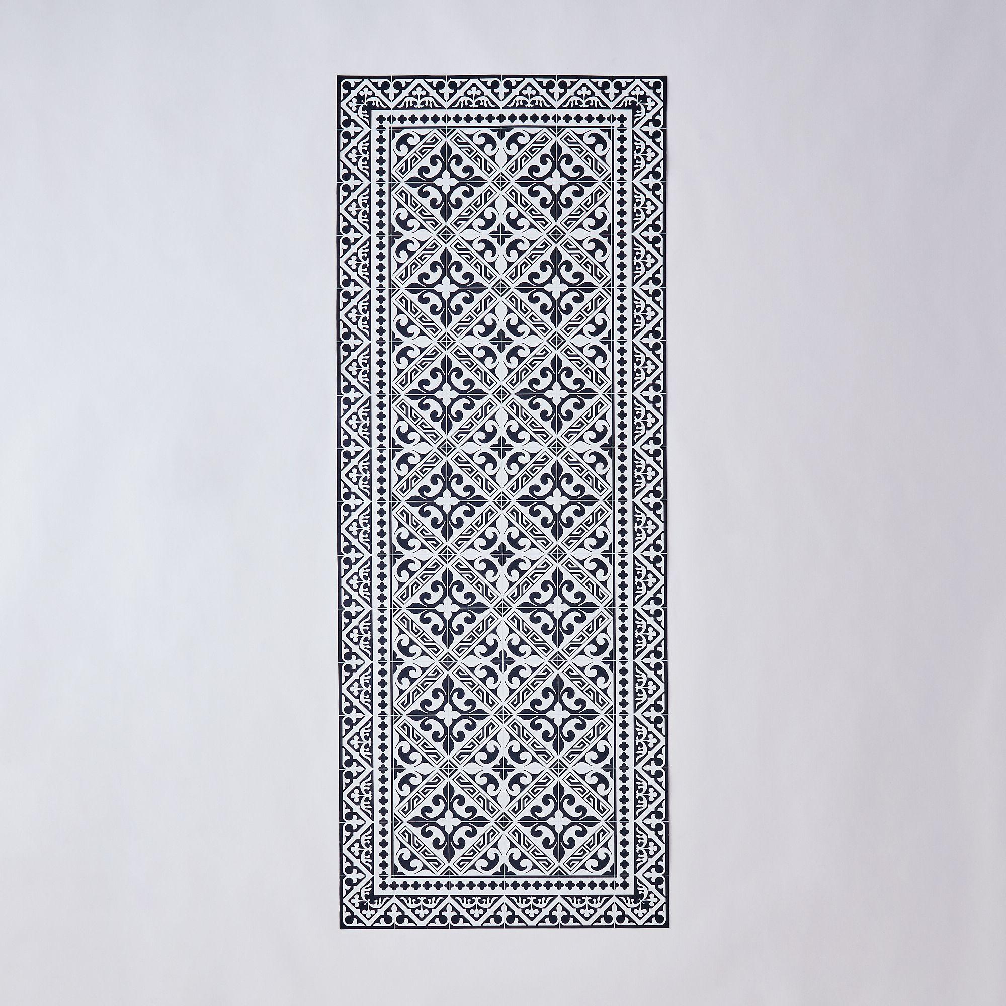 Mediterranean Vinyl Mats - Runner, Black & White