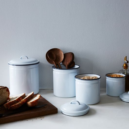 canisters kitchen best floor white grey enamel set of 4 on food52