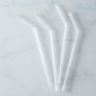 Glass Straws (Set of 4) - Bent , Clear