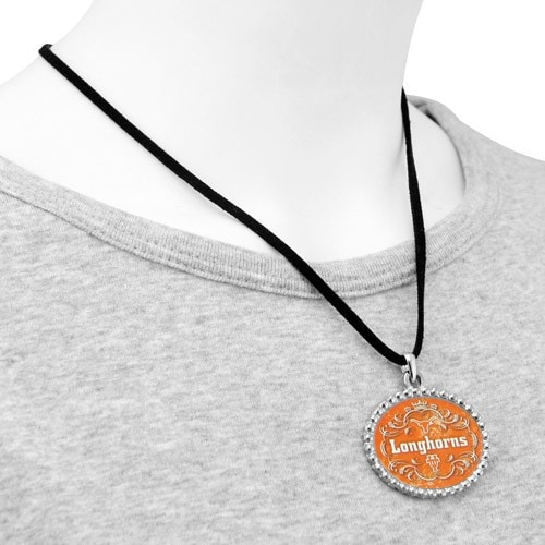 Texas Longhorns Ladies Silvertone Oval & Crown Suede Necklace