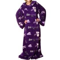 Texas Christian Horned Frogs Purple Team Logo Print Unisex Snuggie Blanket