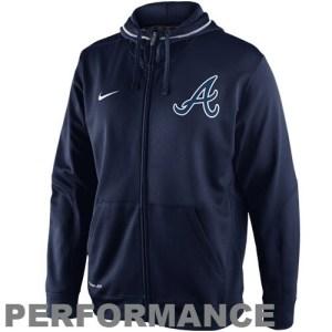 Nike Atlanta Braves TKO Performance Full Zip Hoodie Sweatshirt - Navy Blue
