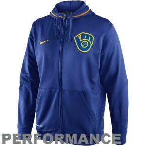 Nike Milwaukee Brewers TKO Performance Full Zip Hoodie Sweatshirt - Royal Blue