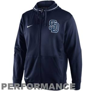 Nike San Diego Padres TKO Performance Full Zip Hoodie Sweatshirt - Navy Blue