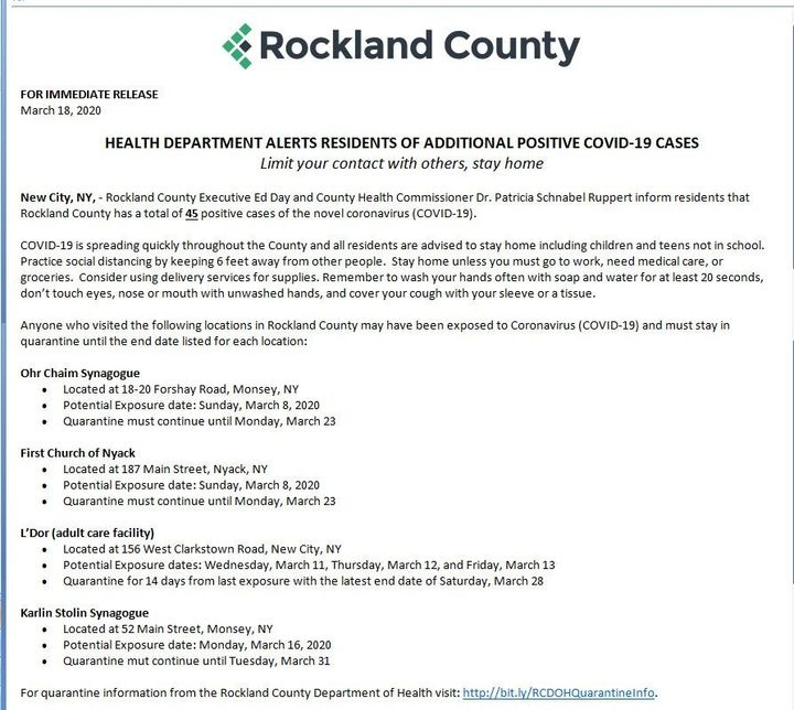 In Rockland County, 45 positive cases of coronavirus – The Forward