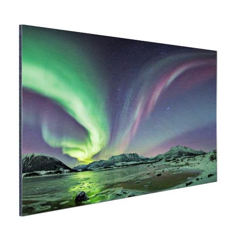 Groen en paars noorderlicht op Aluminium FotoCadeau