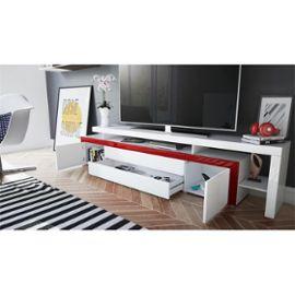 meuble tv noir blanc laque 227 cm avec led pour meubles tv design