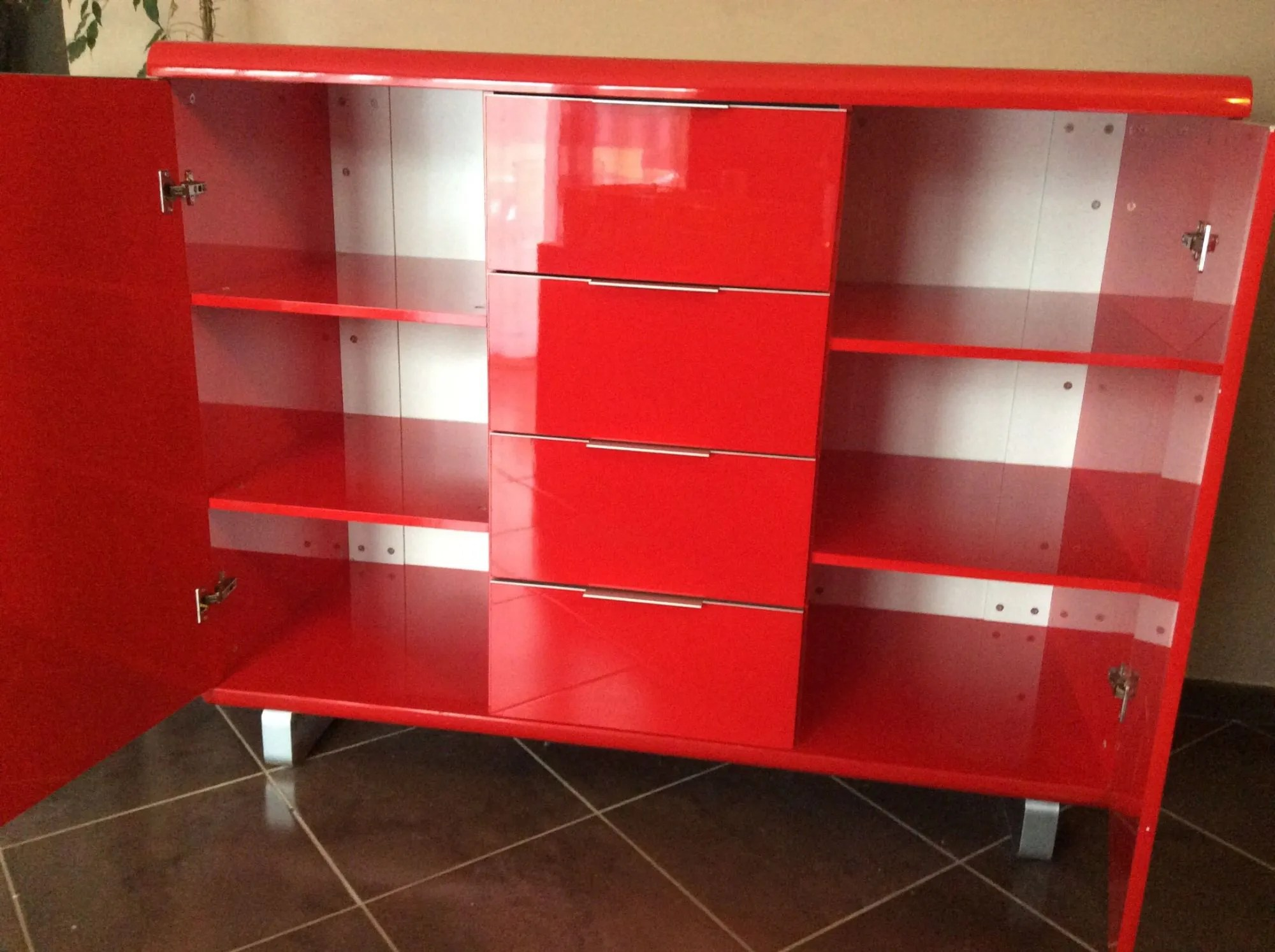 buffet meuble laque rouge fly