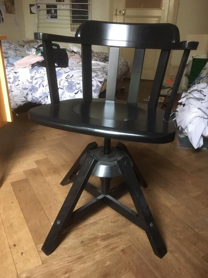 chaise de bureau ikea en bois modele feodor couleur noire