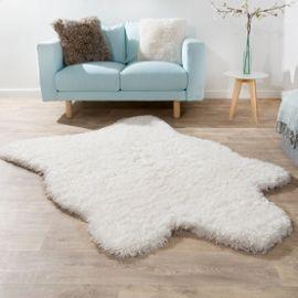xxl poils longs tapis fausse fourrure ours polaire style flokati doux haut de gamme nouveau en blanc 133x190 cm