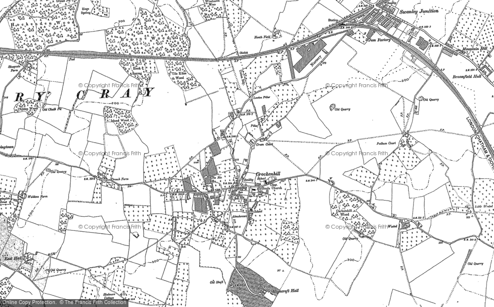 Old map of Crockenhill