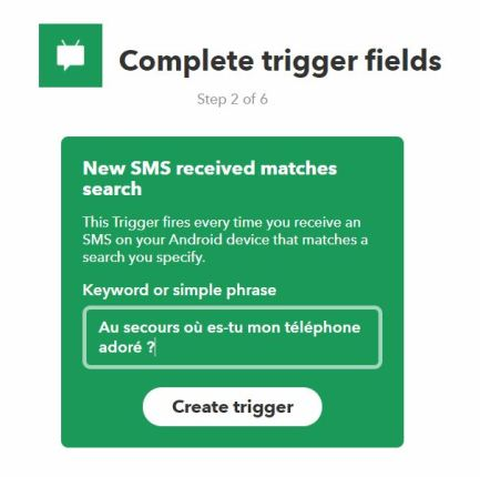 IFTTT recette SMS ringtone IF