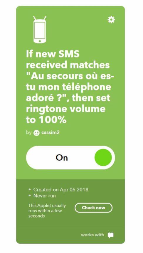 IFTTT recette SMS ringtone review