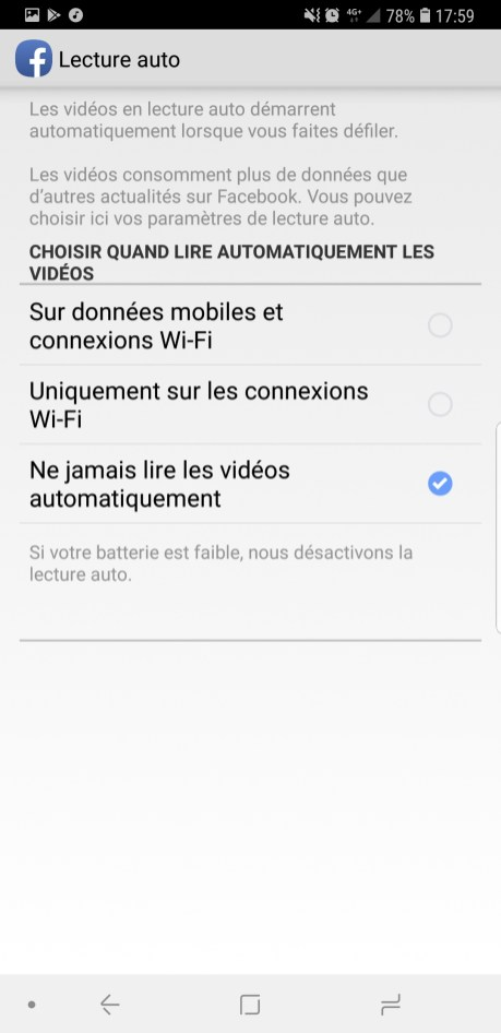 Facebook lecture vidéo auto