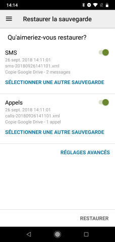 SMS Backup restaurer messages (1)