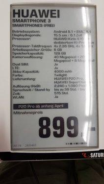 Huawei P20 Pro Saturn prix lancement