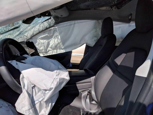 Tesla Model 3 destroyed inside